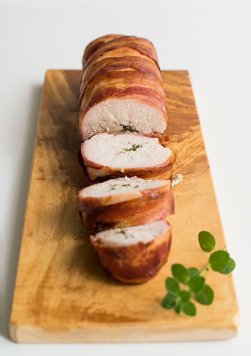 Bacon Wrapped Mediterranean Turkey Roll Roulade