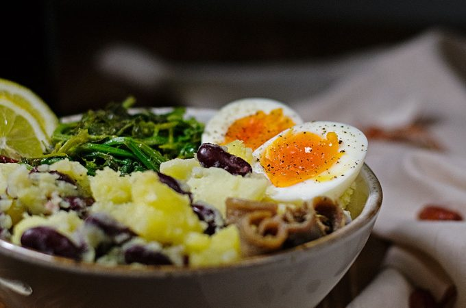 potato-mash-with-red-beans-egg-and-mustard-greens