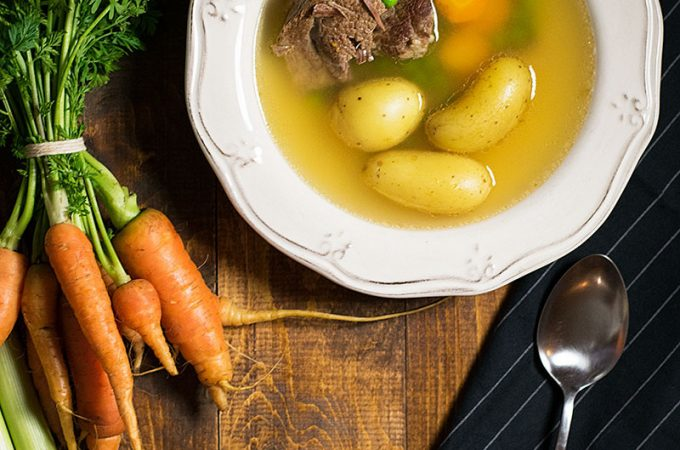 bone broth soup with beef and vegetables 1