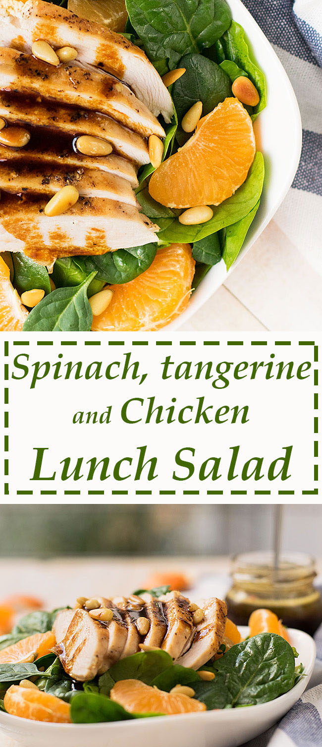 green salad with chicken tangerins and spinach 5
