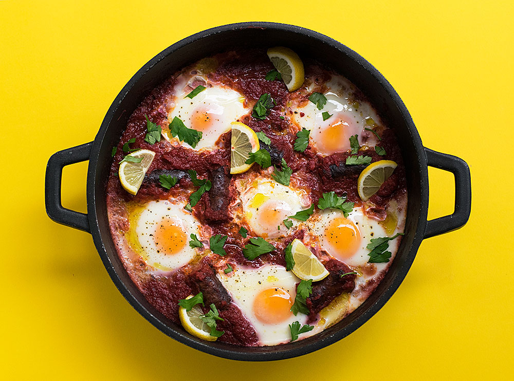 shakshuka with sausage and vegetable sauce3