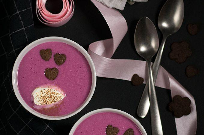 white chocolate & berry Valentine's soup