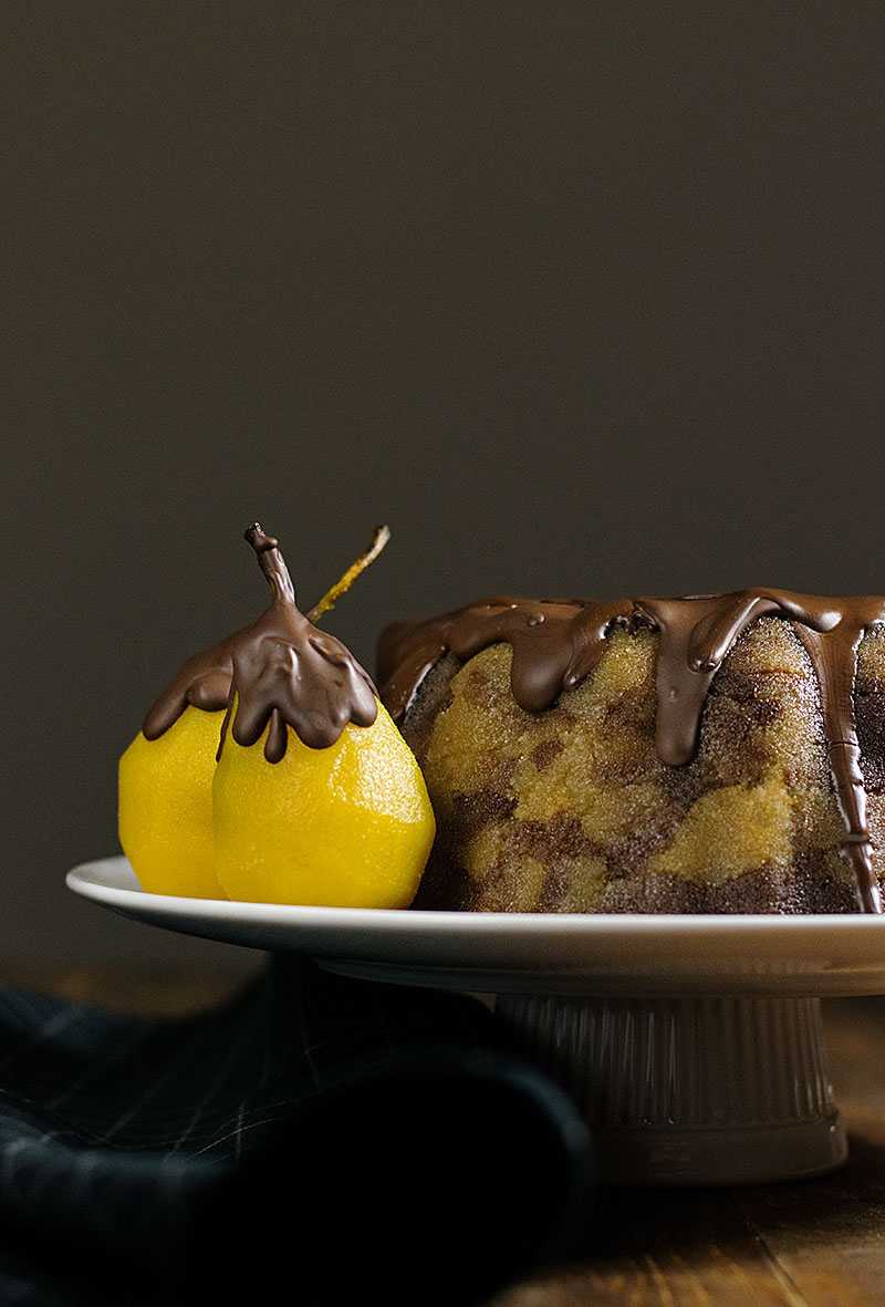 marble semolina cake with poached pears 3