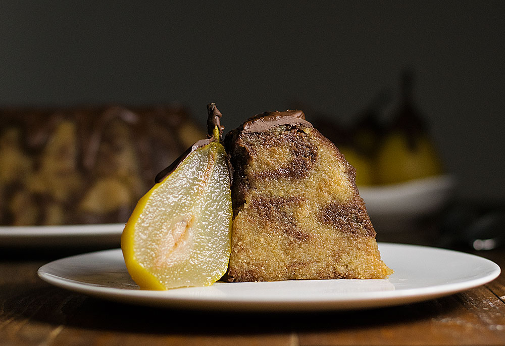 marble semolina cake with poached pears 6