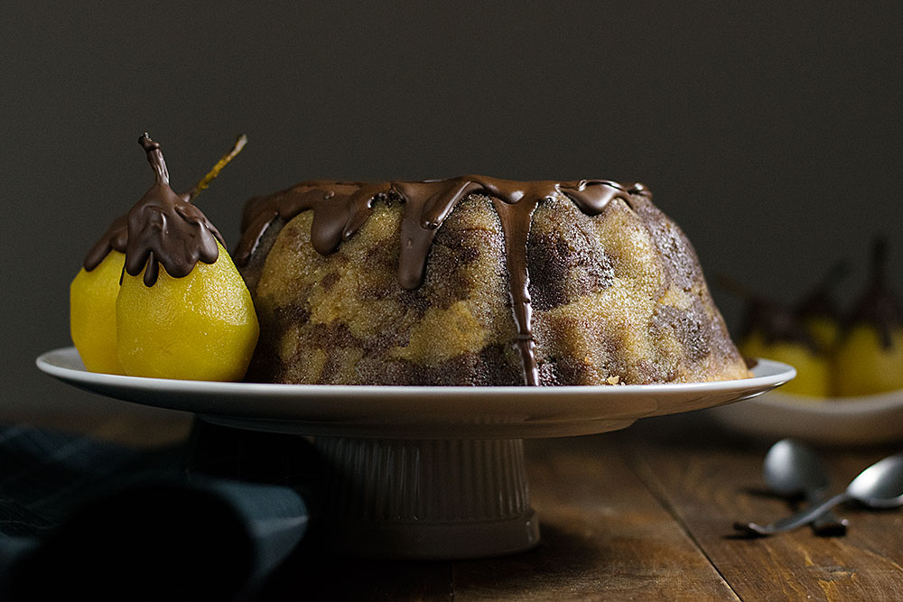 marble semolina cake with poached pears