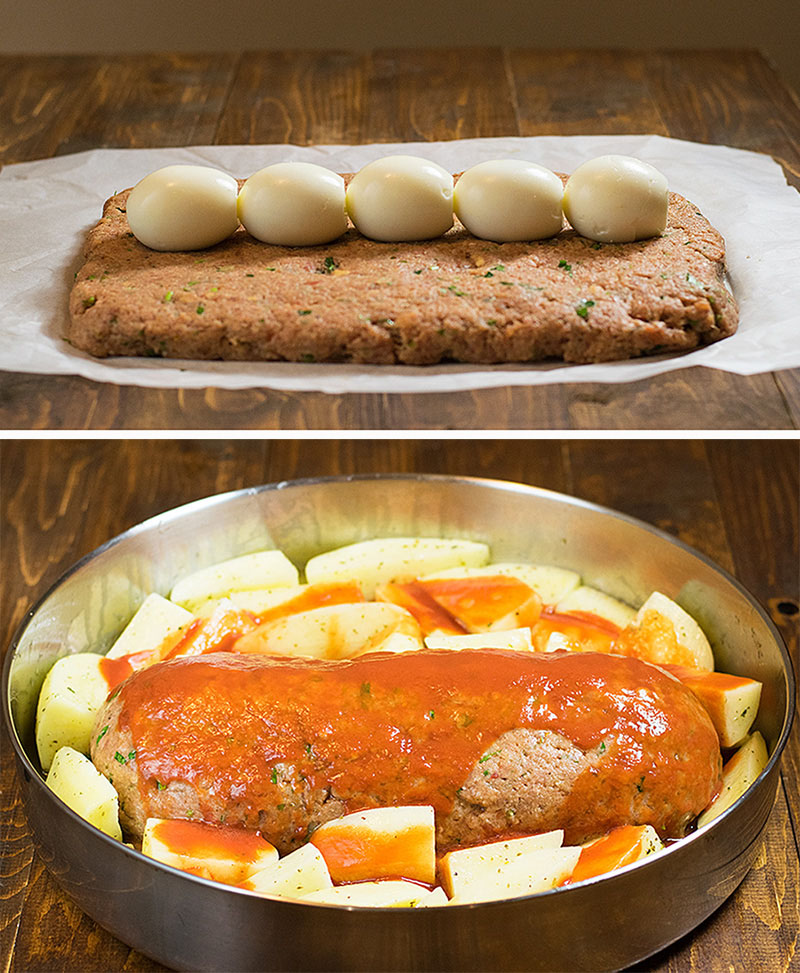 Meatloaf with hard boiled eggs