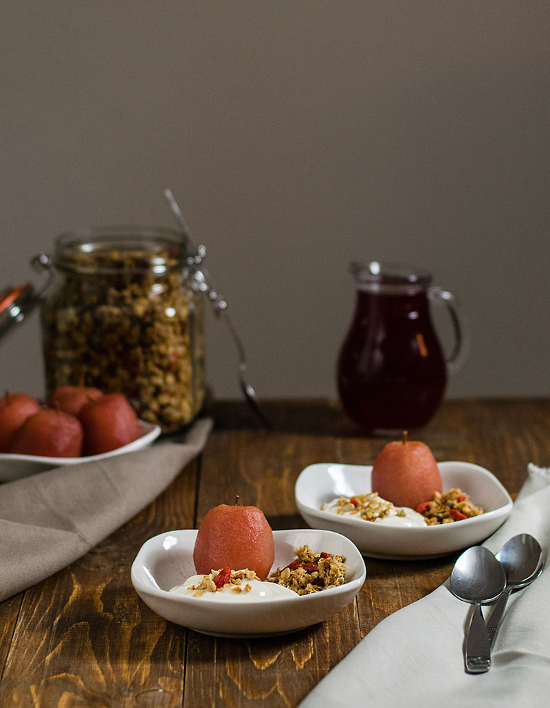 poached apples with yogurt cream and granola