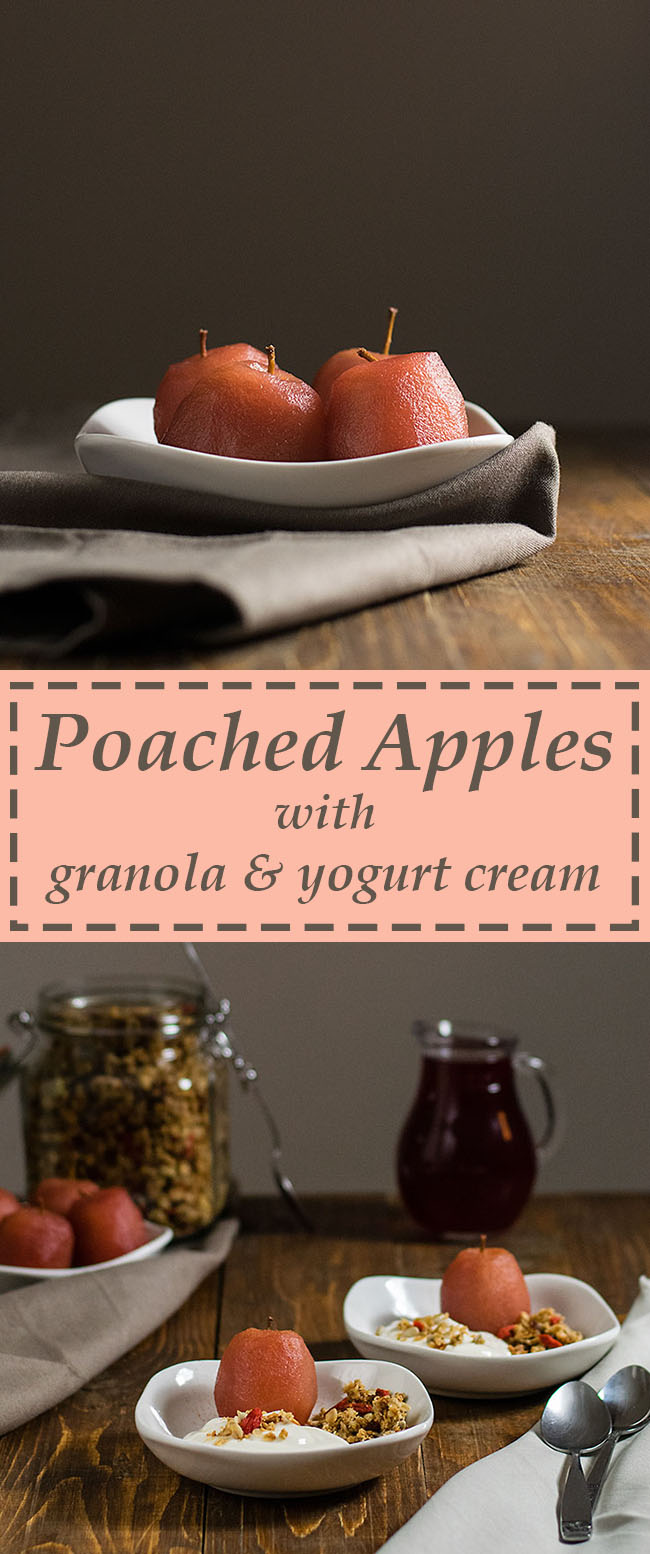 poached apples with yogurt cream and granola 5