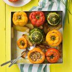Everything grains Mediterranean stuffed vegetables f