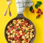 Mediterranean skillet with gnocchi and chicken