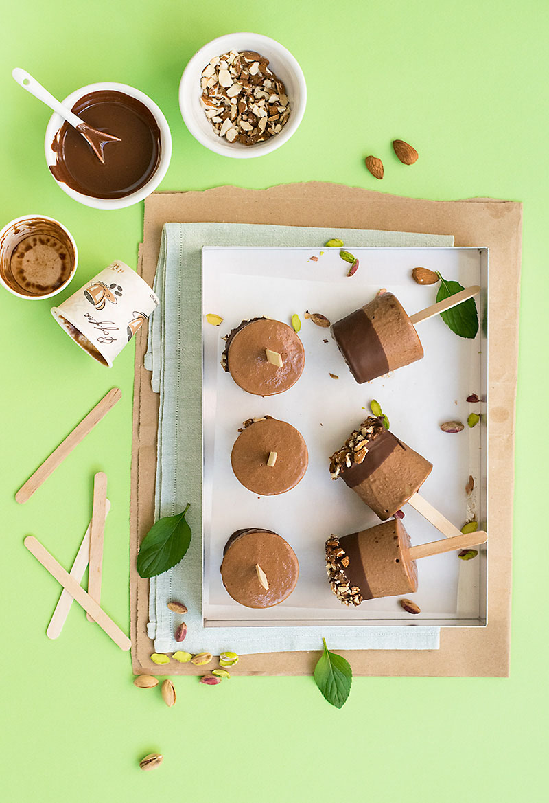 Tahini and chocolate fudge popsicles (V & GF) 1
