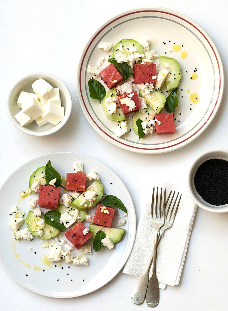 Mediterranean watermelon & feta cheese salad