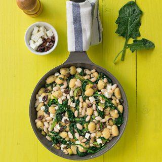Mediterranean skillet gnocchi with white beans & spinach f
