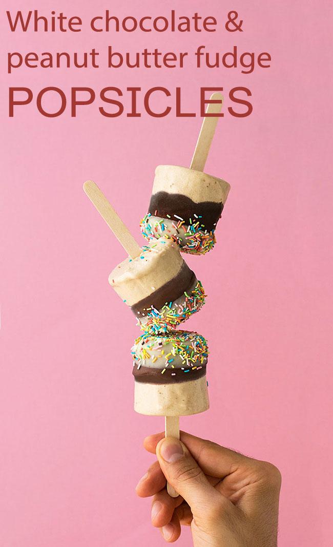 Peanut butter & white chocolate fudge popsicles 6