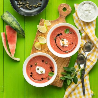 Watermelon gazpacho with feta cream f