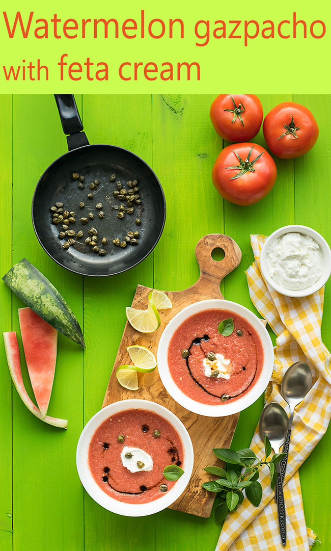 Watermelon gazpacho with feta cream 5