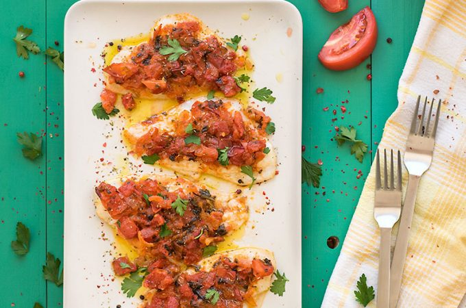 Baked Sole with Mediterranean sauce f
