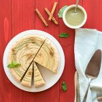 Mint and cinnamon creamy cheesecake with matcha ganache f1