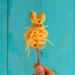 Roasted pepper and ouzo shrimp spaghetti