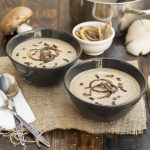 Creamy Italian mushroom soup with black garlic & porcini