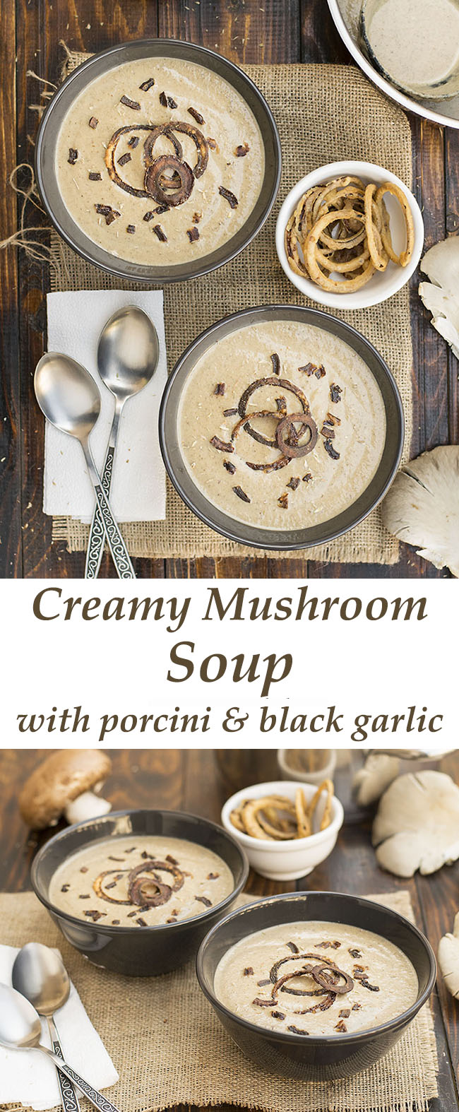 Creamy Italian mushroom soup with black garlic and porcini