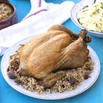 Greek whole stuffed chicken with rice and chestnuts