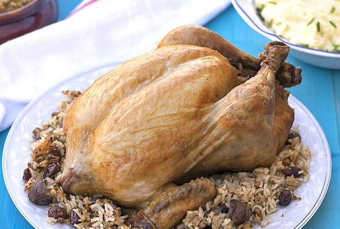 Greek whole stuffed chicken with rice and chestnuts f