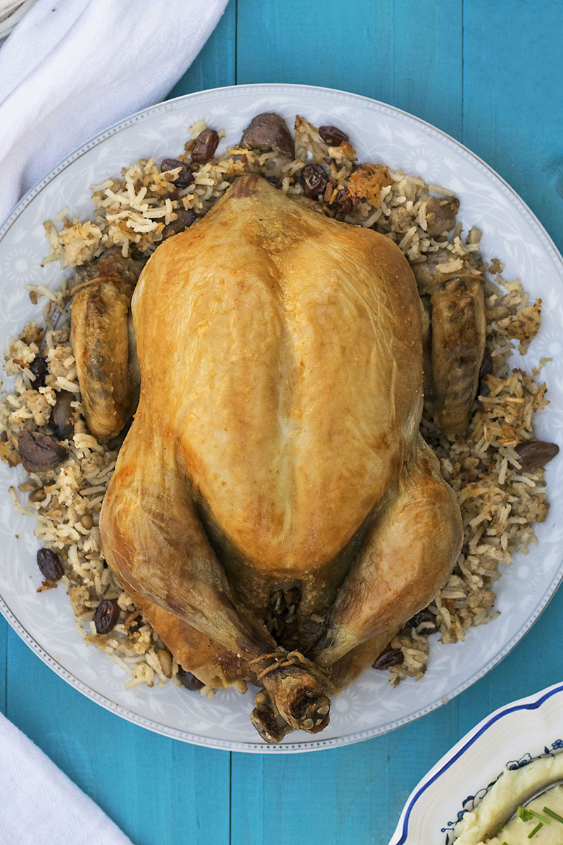 Greek whole stuffed chicken with rice and chestnuts 3