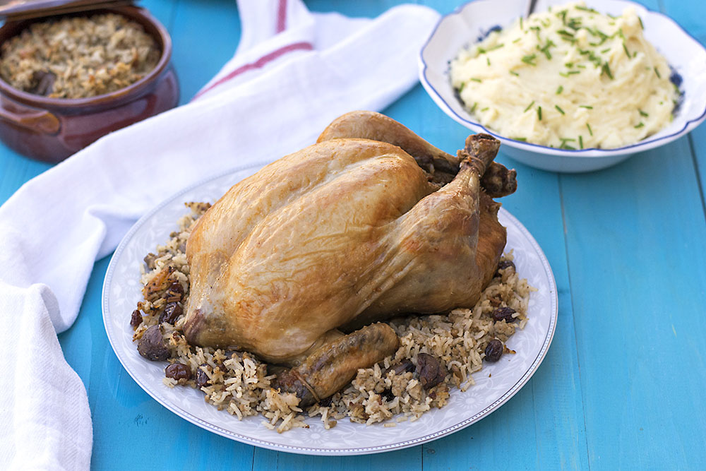 Greek whole stuffed chicken with rice and chestnuts 4