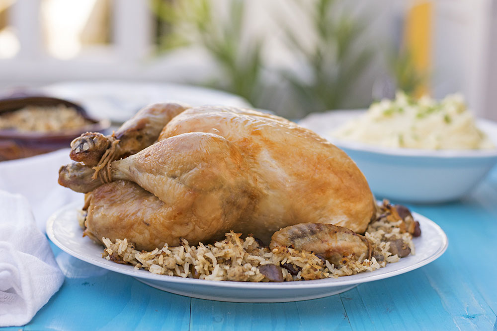 Greek whole stuffed chicken with rice and chestnuts 5