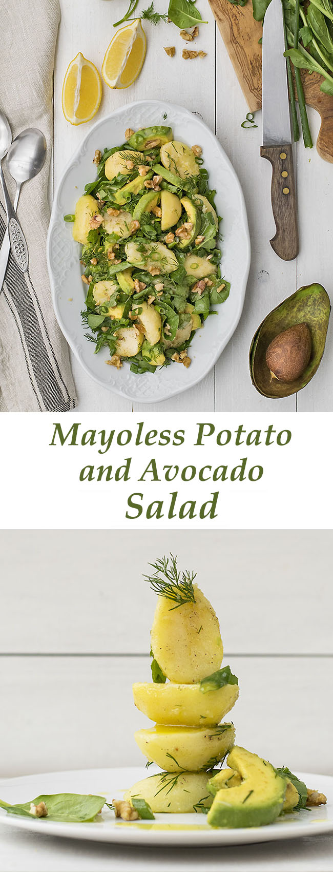 Mayoless potato and avocado salad