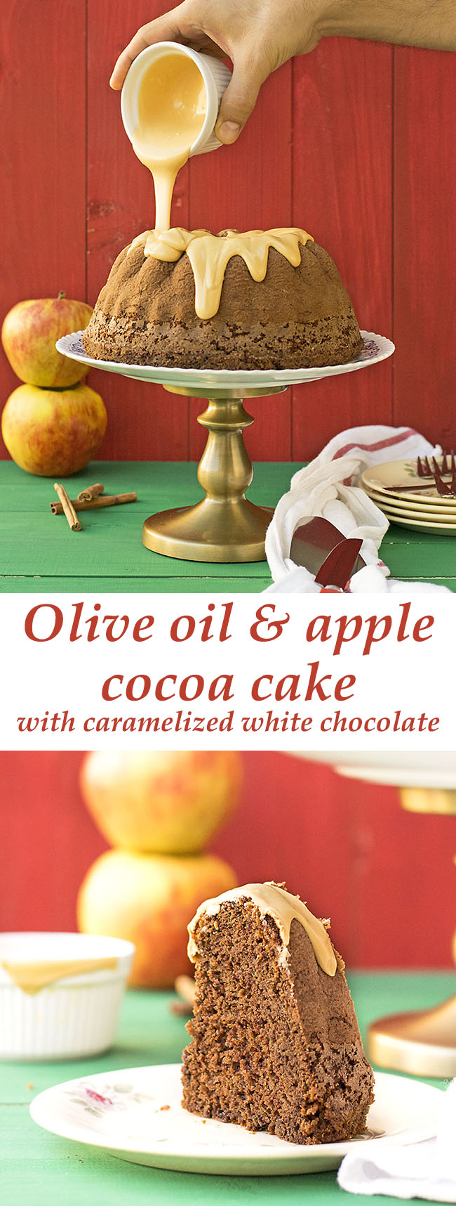 Olive oil and apple cocoa cake with caramelized white chocolate