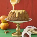 Olive oil, apple & cocoa cake with caramelized white chocolate