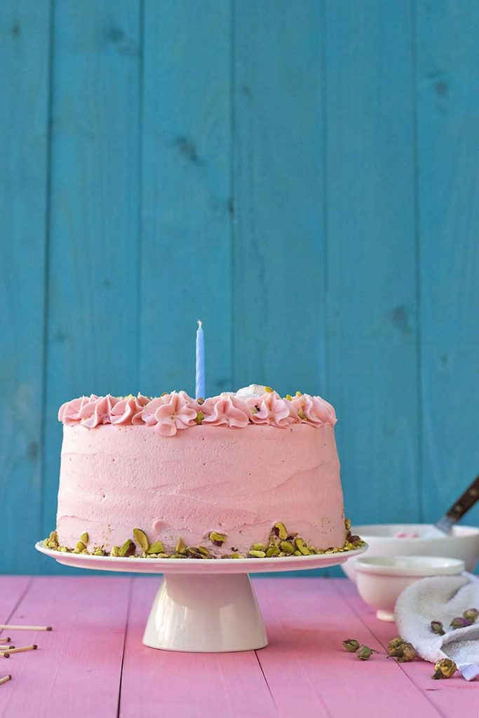 pistachio cake with rose water frosting for birhtdays