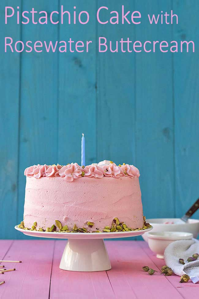 pistachio cake with rose water frosting 9