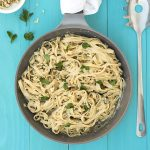 Black garlic creamy linguini pasta with olive oil béchamel