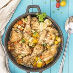 Baked Greek chicken with haloumi and heirloom tomatoes f