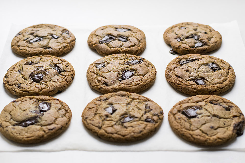 Big, soft & chewy tahini – olive oil chocolate chunk cookies 6