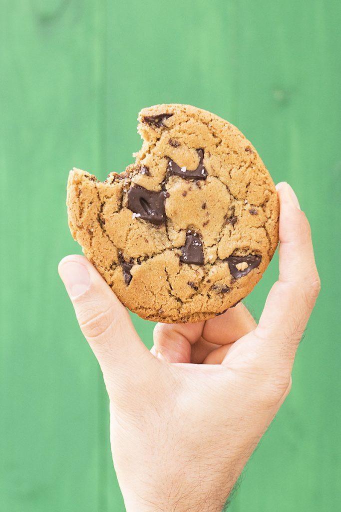 Big, soft & chewy tahini – olive oil chocolate chunk cookies