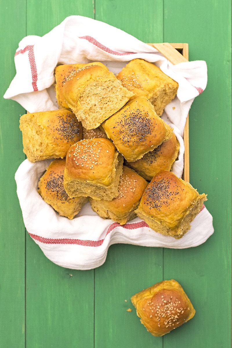 Moist, fluffy olive oil & pumpkin dinner rolls