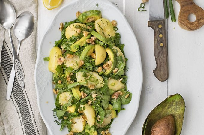 Mayo-less potato & avocado salad with greens featured