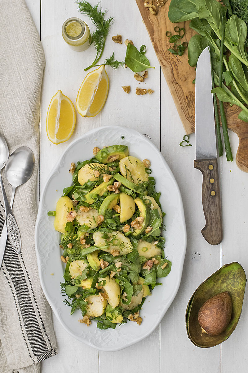 Mayo-less potato & avocado salad with greens