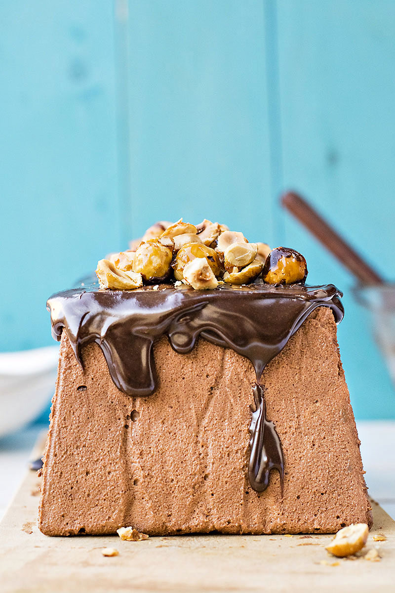 Chocolate & candied hazelnut mousse cake