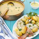 Greek fish soup with potatoes & vegetables (Psarosoupa)