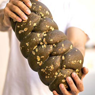 Black Detox Vegan Challah Bread with olive oil f