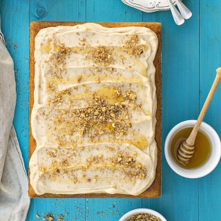 Greek walnut sheet cake (Karidopita) with vanilla custard cream f
