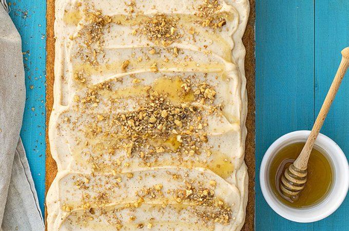 Greek walnut sheet cake (Karidopita) with vanilla custard cream f