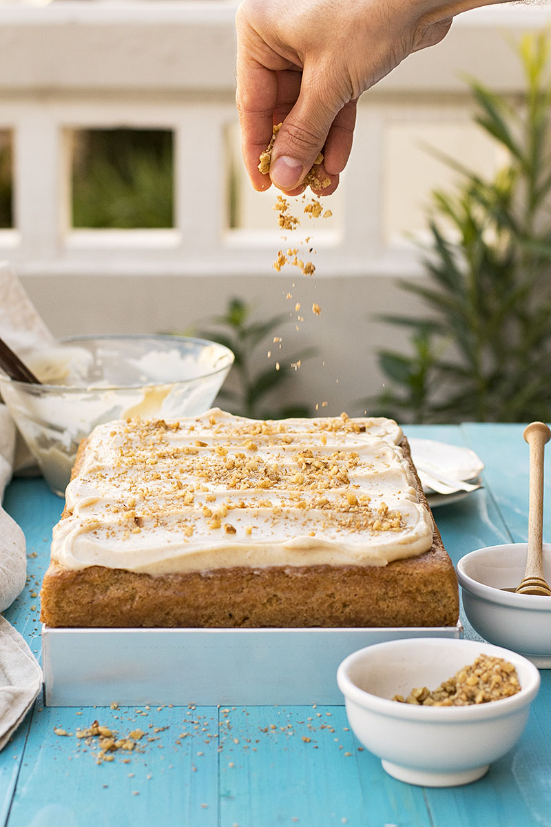 Greek walnut sheet cake (Karidopita) with vanilla custard cream 2