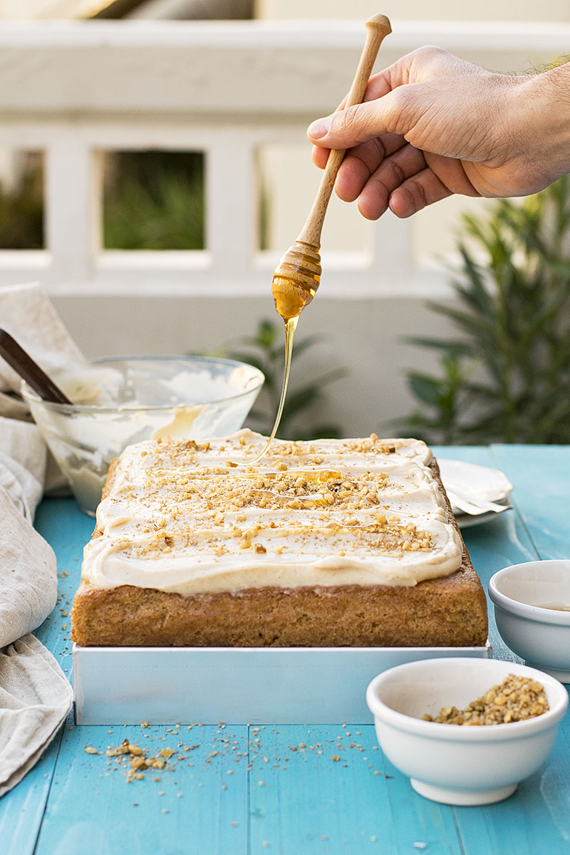 Greek walnut sheet cake (Karidopita) with vanilla custard cream 3