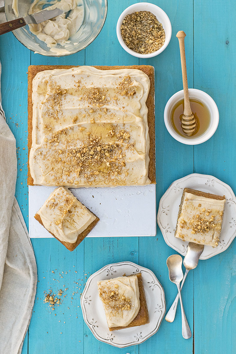 Greek walnut sheet cake (Karidopita) with vanilla custard cream 4